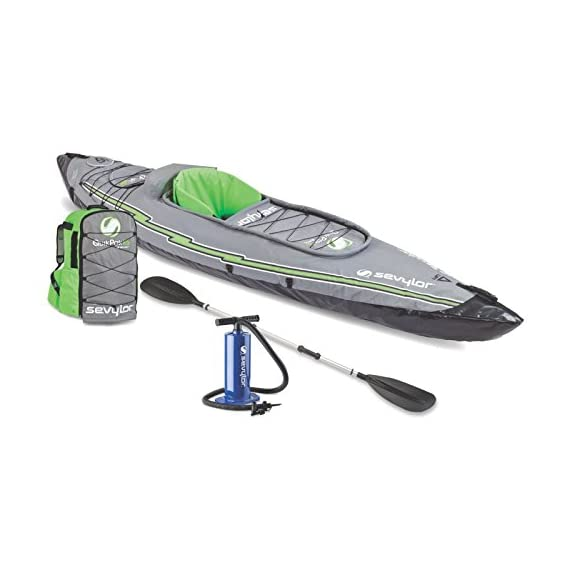 Sevylor Quikpak K5 1-Person Kayak , Gray 2 5-minute setup lets you spend more time on the water Easy-to-carry backpack system turns into the seat 24-gauge PVC construction is rugged for lake use