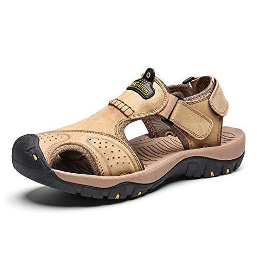RatenKont Sandalias de cuero Sandalias Sandalias Playa Sandalias Hombre Moda Zapatillas de deporte casuales al aire libre Khaki 11.5