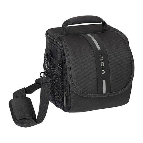 Pedea–Funda para Cámara Réflex Nikon D90, D610, D3200, D3300, D7100, D7200/Pentax K 50, K de S2/Canon EOS 1300d, 5d mark ii (tamaño m) Negro/Gris con Protector de pantalla