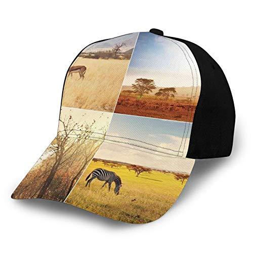 Gorra de béisbol para hombre y mujer, ajustable, de sarga lavada, de perfil bajo, de safari africano, collages con animales de sabana salvaje nativo tierras exóticas planeta solitaria