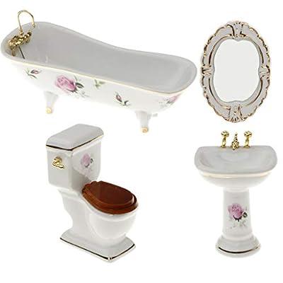Prettyia 1/12 Dollhouse Mini Furniture Porcelain Bathroom Set Floral Toilet, Bathtub & Basin #5