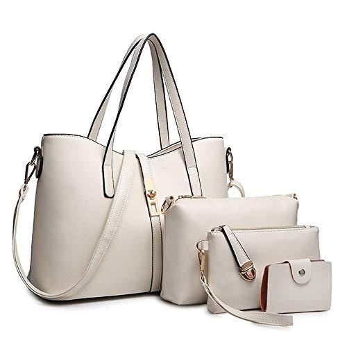 4PCS Women Bag Set Fashion Purse Handbag Shoulder Bag Tote Large Capacity Tote Bag Casual Pu Leather Messenger Bag Crossbody Bag (white)