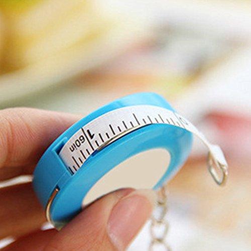 UxradG bonbonfarbener Schlüsselanhänger, 1,5 m, rundes Maßband, weiches Maßband, tragbares kleines Rollbandmaß, Lineal dehnbar 4,5 cm blau