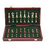 HBXHN Tablero de ajedrez Las Grandes Piezas de ajedrez de Metal Plegable de Madera Maciza Conjunto de Tablero de ajedrez Juego de ajedrez Profesional Conjunto de ajedrez clásico