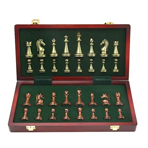 HBXHN Tablero de ajedrez Las Grandes Piezas de ajedrez de Metal Plegable...