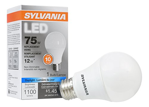 SYLVANIA, 75W Equivalent, LED Light Bulb, A19 Lamp, 1 Pack, Daylight, Energy Saving & Long Life, Medium Base, Efficient 12W, 5000K