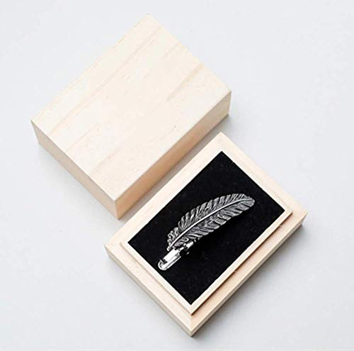 one plus one Clip de corbata de cobre, con patrón de plumas, regalo para amigos masculinos y femeninos