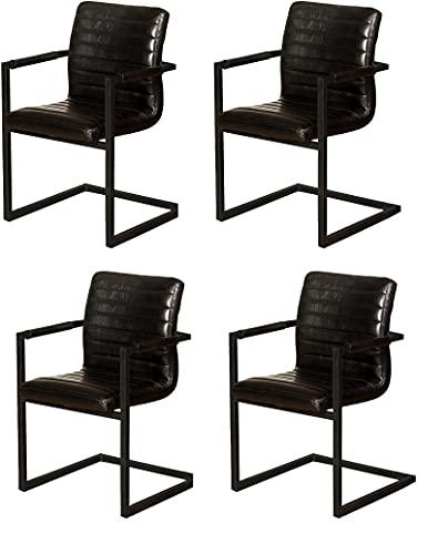 SAM 4er Set Esszimmerstuhl Parzivo, Kunstlederbezug schwarz, Armlehnstuhl im Industrial-Stil, Schwingstuhl mit Eisen-Fuß