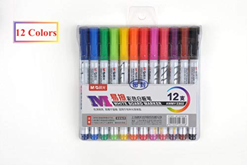 MIZ 12 Color White Board Pens, Water-Based Pens Children's Painting Learning Pens, School Office Stationery,12 Colors Packing