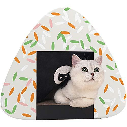 Umora猫 爪とぎ ベッド ダンボール 猫のハウス 可愛いおにぎり ストレス解消 運動不足解消(カラフル)