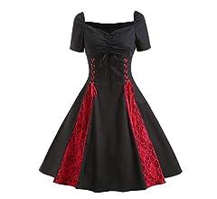 Lenfesh Vestido Gotico Cortas De Mujer Años 50 Vestido Vintage de ...