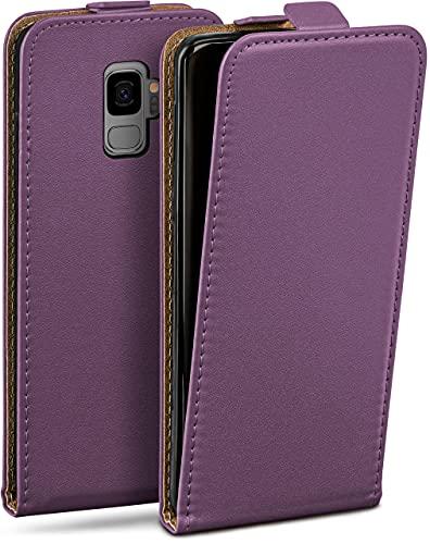 moex Flip Hülle für Samsung Galaxy S9 Hülle klappbar, 360 Grad R&um Komplett-Schutz, Klapphülle aus Vegan Leder, Handytasche mit vertikaler Klappe, magnetisch - Lila