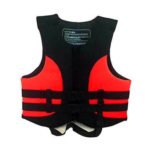 Phil Beauty Chalecos Salvavidas Adultos Flotante Unisex Ajustable Pescar navegar velero Bucear yate 85-100KG,Rojo,XL