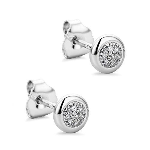 Orovi Orecchini Donna a lobo con Diamanti taglio brillante Ct 0.06 in oro Bianco 9 kt 375