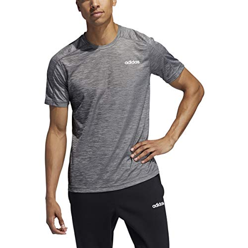 adidas Men's Designed 2 Move Heathered Training Tee, Black Melange, Large