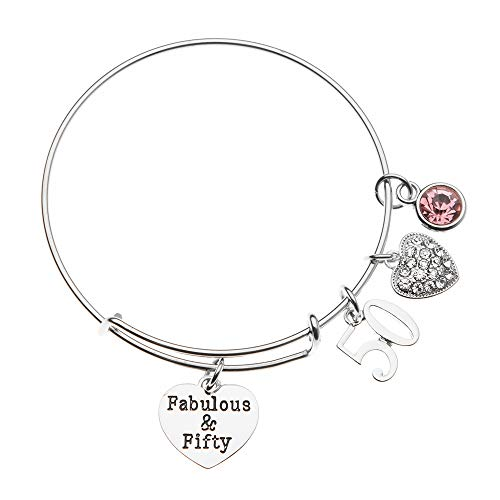 Infinity Collection 50th Birthday Gifts for Women, 50th Birthday Expandable Charm Bracelet with October Birthstone Charm, Adjustable Bangle, Perfect 50th Birthday Gift Ideas (October)