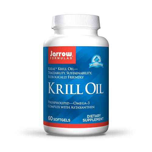 Jarrow Formulas Krill Oil Phospholipid Omega-3 Complex with Astaxanthin - May Support Lipid Management, Brain Function & Metabolism, 30 Servings, 60 Count
