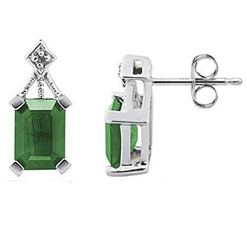 Ani's Pendientes de tuerca de 0,36 quilates de esmeralda y corte redondo D/VVS1 con diamantes chapados en oro blanco de 14 quilates de ley 925