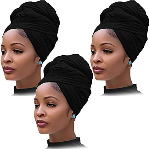 YMHPRIDE 3 Pièces Jersey Stretch Turban Head Wrap Bonnets En Tricot Écharpe De Cheveux Urbain Couleur Unie Ultra Doux Extra Long Respirant Bandeau Cravate pour Femmes (Noir)