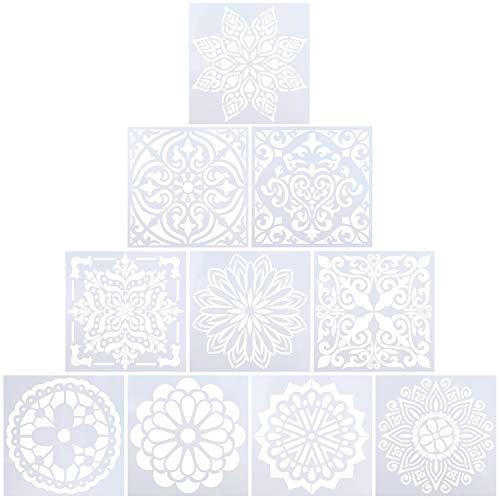 Plantilla de Pintura Reutilizables el Plastico Plantillas de Mandala para Pintar,Piedras de Piedra, Muebles de Madera y Más 15x15cm 10 Piezas