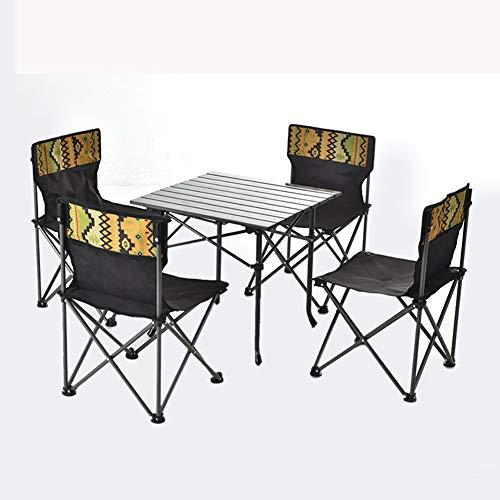 HPH Mesa de Picnic al Aire Libre Ajustable de Aluminio Plegable portátil y 4 Juegos de sillas, Mesa y sillas de Pesca en la Playa, aptas para Camping, Vacaciones, Barbacoa, Viajes