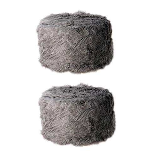 MERIGLARE 2pcs Home Footstool Pouf Cover Furry Round Taburete Asiento Funda 33cm Gris