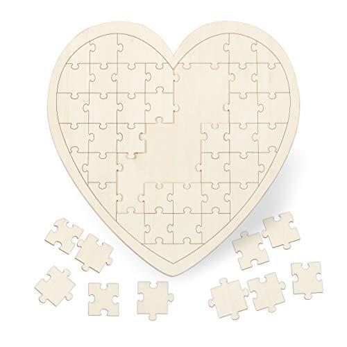 Relaxdays Herzpuzzle, Gästebuch für Hochzeit, Taufe & Geburtstag, 49 Teile zum Beschriften, Holz, BxT: 45 x 45 cm, natur