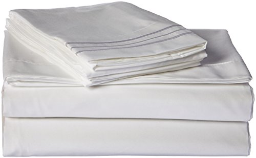 Sweet Home Collection Supreme 1800 Series 4pc Bed Sheet Set Egyptian Quality Deep Pocket - Queen, White