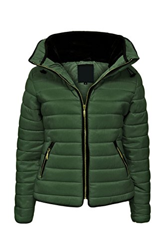 Malaika - Chaqueta para señora, acolchada, con capucha, cuello de piel, tallas grandes disponibles Verde caqui L