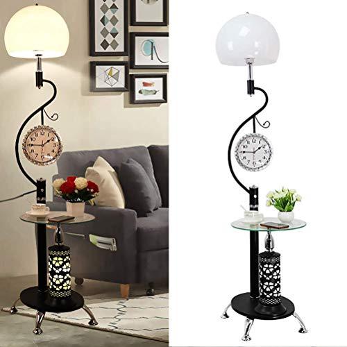 Casa grande centro comercial de hierro Lámpara de pie |Moderna minimalista lámpara de pie con una pequeña mesa |para sala de estar dormitorio Estudio Alto 170cm (Color: Negro) (Color : Black)