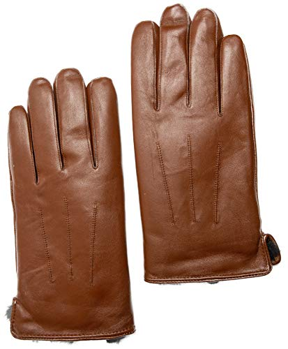 Men's Rabbit Fur Lined Sheepskin Leather Gloves, Touchscreen, Winter Leather Gloves for Men, Gift Box by CANDOR AND CLASS (Tan, M)