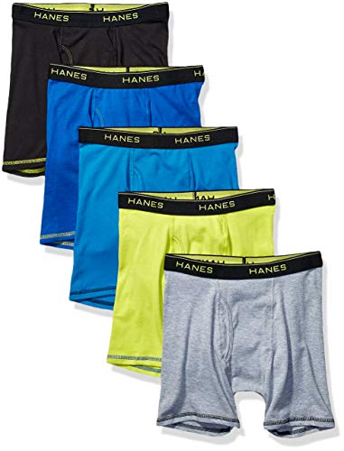 Hanes Boys' Lightweight Mesh Boxer Briefs 5-Pack, Assorted Solids, Large