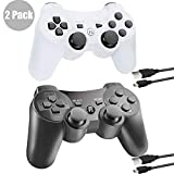 PS3 Wireless Controller Bluetooth Gamepad Remote Controller for Playstation 3 PS3 with Dualshock Six Axis&Charging Cable (Black+White(2pcs))