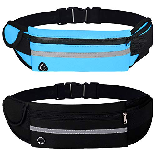 2 Pack Running Pouch Belt Waist Pack Bag, Adustable Workout Gym Fanny Pack,...