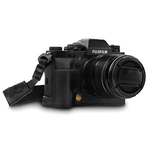 MegaGear MG1552 Ever Ready Echtleder Kamera-Halbtasche mit Trageriemen für Fujifilm X-T3 - Schwarz