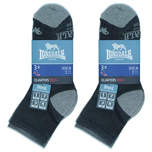 Lonsdale Quarter Tech 6 Paar ideale Socken für Trekking, Rennen, Tennis, Radfahren, ausgezeichnete Baumwollqualität (Anthrazit, Mittelgrau, Melangegrau, 43-46)