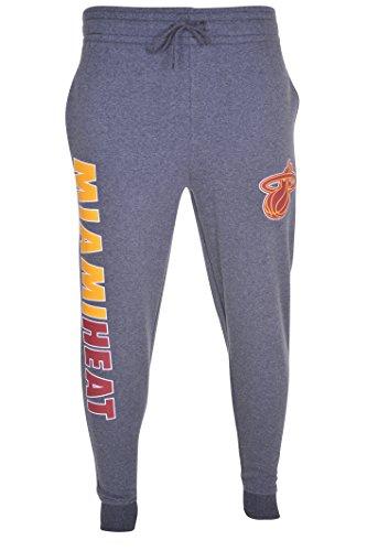 Ultra Game Men's NBA Jogger Pants Active Overtime Fleece Sweatpants, Miami Heat, Charcoal Heather, XX-Large