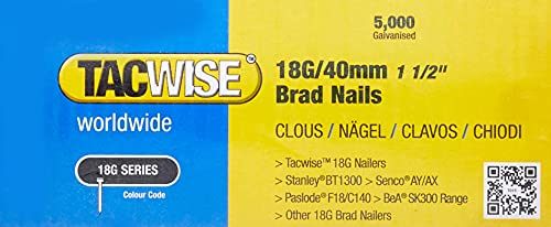 Tacwise 0400 Brad Nails 18G/40 mm Galvanised (Pack of 5000), 40