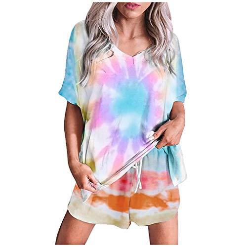 Xniral Damen Pyjama Schlafanzug Kurz Tie-Dye Bedruckte Nachtwäsche Nachthemd Hausanzug Set Kurzarm Rundhals-Ausschnitt für Sommer(E Mehrfarbig,M)