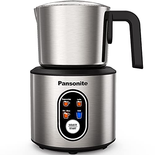 Pansonite Milk Frother for Coffee,4 in 1 Electric Detachable Milk Frother and Steamer Made of Stainless Steel with Hot & Cold Foam Function for Latte,Cappuccino,Macchiato,Hot Chocolate