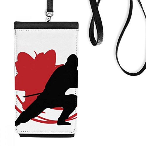 DIYthinker Japan Azië Samurai Katana Sakura Actie Silhouette Kunstleer Smartphone Hangende portemonnee Zwart Telefoon Portemonnee Gift