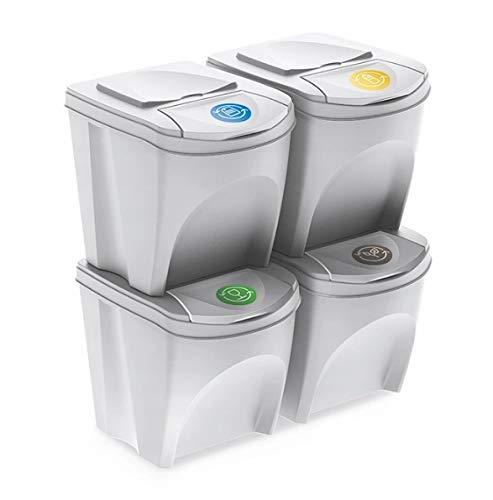Mülleimer Abfalleimer Mülltrennsystem 100L - 4x25L Behälter Sorti Box Müllsortierer 3 Farben von rg-vertrieb (Weiß)