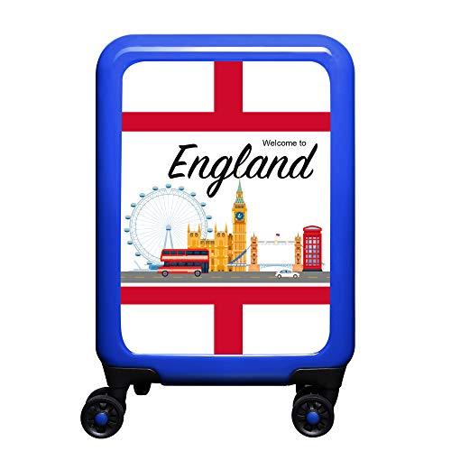 made2trade - Trolley Rigido da Viaggio, con Varie Stampe, 32 Litri, Colore: Blu, Inghilterra