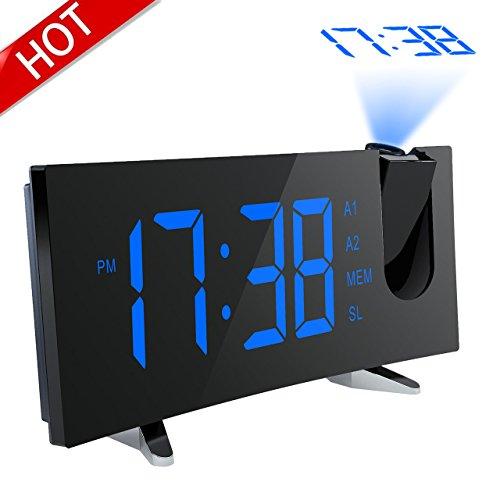 Pictek Digitaluhr, elektronische Uhr mit digitalem Wecker und großer LED-Anzeige, mit AM/FM-Radio, Einschlafautomatik, Notstrombatterie, Snooze-Funktion (erweitert).