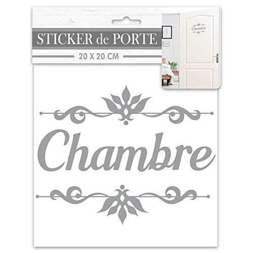 Les Trésors De Lily [R2092 - Sticker Porte 'Chambre' Gris - 20x20 cm