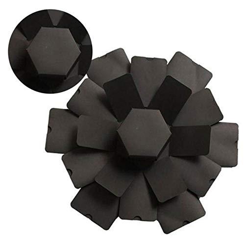EDCV DIY fotoalbum verrassing bom vak cadeau voor Valentijnsdag exploderende doos handgemaakte zeshoek foto explosie vak creatieve geschenkdoos, zwart