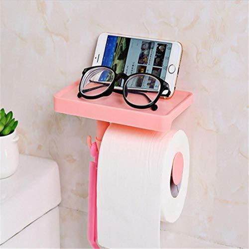 Roze Badkamer Opslag Multifunctionele Weefseldozen Mobiele Telefoon Opslag Plank Rack Roll Toiletpapier Opberghouder Organizer, roze