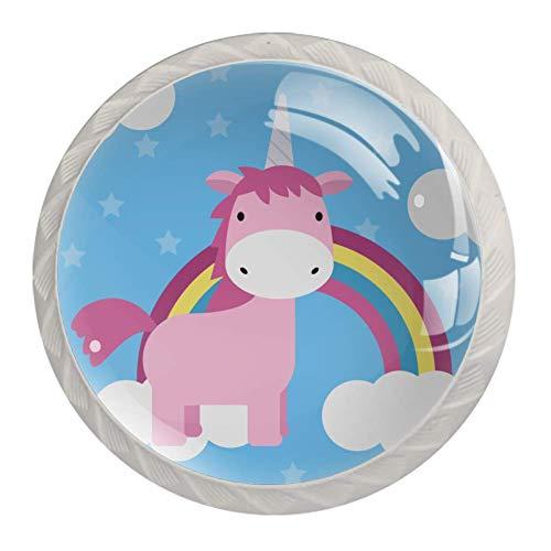 Möbelgriff Regenbogen-Einhorn Möbelknöpfe für Kinder Schubladengriff Kristall Kinderzimmer Knopf Niedlich Schubladenknopf 4 Stück 3.5×2.8CM