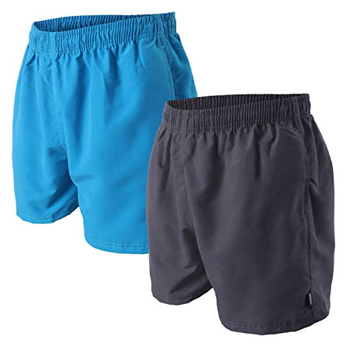 OAHOO Herren Badeshorts (2 Stück) Badehose mit Mesh-Futter und Taschen - Blau-Anthrazit XXL