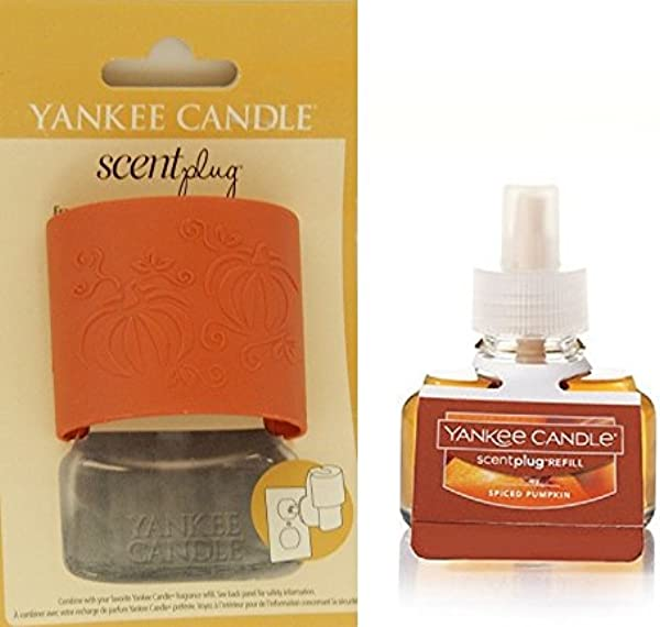 Yankee Candle Pumpkins Scent Plug Diffuser Base With SPICED PUMPKIN Home Fragrance Electric Refill